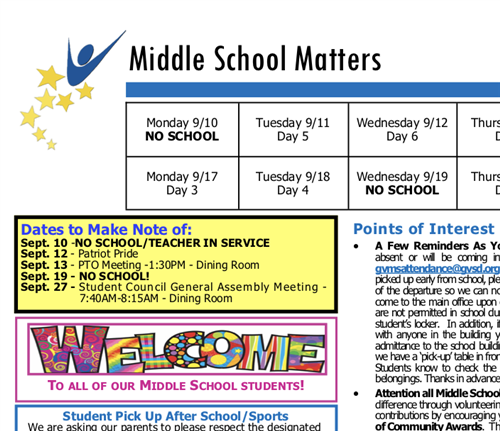 Middle School Matters Newsletter