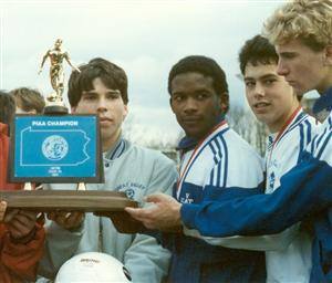 1989 Team Captains with State Championship Trophy