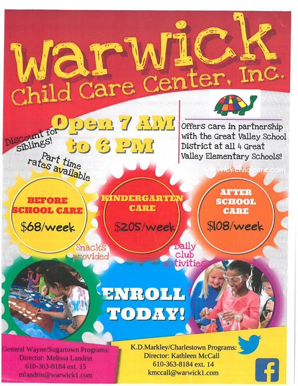 WARWICK CHILDCARE  offers care in partnership with the Great Valley School District.